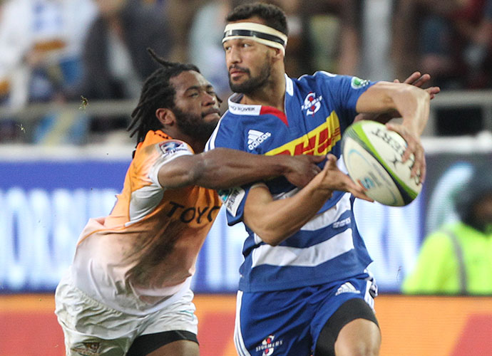 CAPE TOWN, SOUTH AFRICA - MAY 30: Dillyn Leyds of the Stormers during the Super Rugby match between DHL Stormers and Toyota Cheetahs at DHL Newlands Stadium on May 30, 2015 in Cape Town, South Africa. (Photo by Luke Walker/Gallo Images)