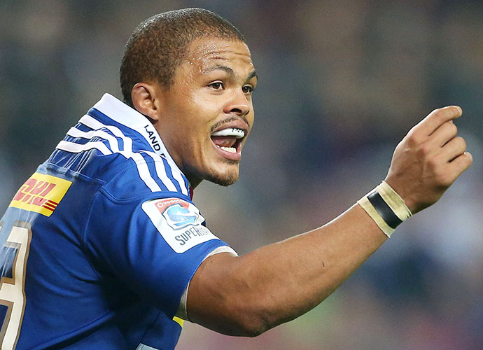 CAPE TOWN, SOUTH AFRICA - MAY 23: Juan de Jongh of the Stormers during the Super Rugby match between DHL Stormers and Melbourne Rebels at DHL Newlands Stadium on May 23, 2015 in Cape Town, South Africa. (Photo by Carl Fourie/Gallo Images)