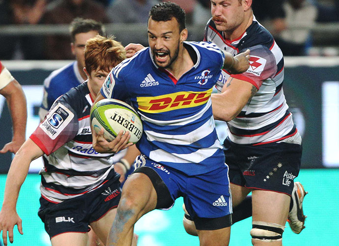 CAPE TOWN, SOUTH AFRICA - MAY 23:  Dillyn Leyds of the Stormers during the Super Rugby match between DHL Stormers and Melbourne Rebels at DHL Newlands Stadium on May 23, 2015 in Cape Town, South Africa. (Photo by Luke Walker/Gallo Images)