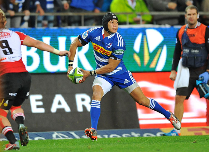 CAPE TOWN, SOUTH AFRICA - JUNE 06: Cheslin Kolbe of the Stormers during the Super Rugby match between DHL Stormers and Emirates Lions at DHL Newlands Stadium on June 06, 2015 in Cape Town, South Africa. (Photo by Ashley Vlotman/Gallo Images)