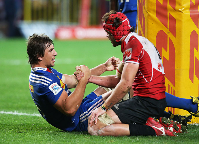 CAPE TOWN, SOUTH AFRICA - JUNE 06: Eben Etzebeth of the Stormers and Warren Whiteley of Lions during the Super Rugby match between DHL Stormers and Emirates Lions at DHL Newlands Stadium on June 06, 2015 in Cape Town, South Africa. (Photo by Carl Fourie/Gallo Images)