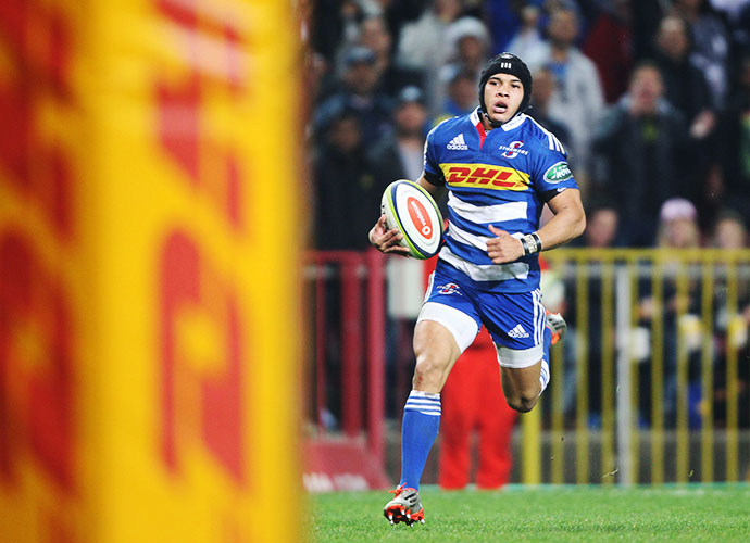 CAPE TOWN, SOUTH AFRICA - JUNE 20: Cheslin Kolbe of the Stormers celebrates a try during the Super Rugby match between DHL Stormers and Brumbies at DHL Newlands Stadium on June 20, 2015 in Cape Town, South Africa. (Photo by Luke Walker/Gallo Images)
