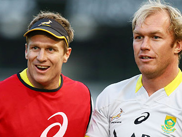 DURBAN, SOUTH AFRICA - AUGUST 07: Jean de Villiers with Schalk Burger during the Springboks captains run at Growthpoint Kings Park on August 07, 2015 in Durban, South Africa. (Photo by Steve Haag/Gallo Images)