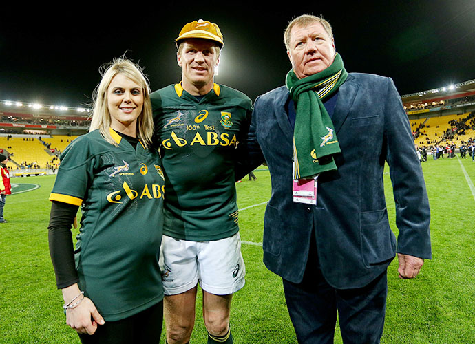 WELLINGTON, NEW ZEALAND - SEPTEMBER 13: Jean de Villiers of the Springboks poses with wife Marlie and father Andre after earning his 100th test cap during The Rugby Championship match between the New Zealand All Blacks and the South Africa Springboks at Westpac Stadium on September 13, 2014 in Wellington, New Zealand. (Photo by Hagen Hopkins/Gallo Images)