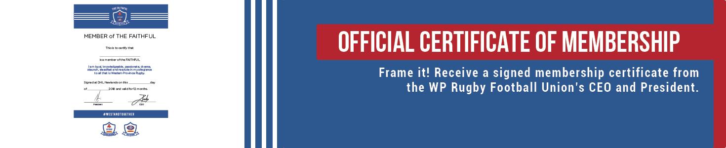 Official Membership Certificate